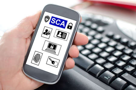 Hand holding a smartphone showing a sca concept Stock fotó