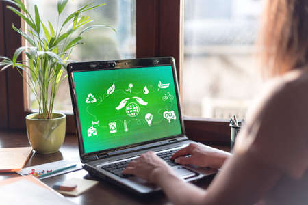 Laptop screen displaying an environment protection concept Imagens