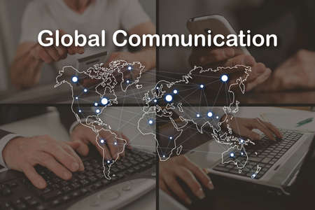 Global communication concept illustrated by pictures on background