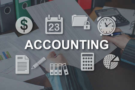 Accounting concept illustrated by a picture on background