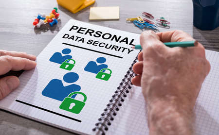 Hand drawing personal data security concept on a notepad