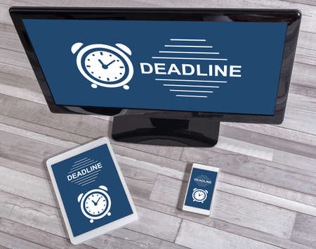 Deadline concept shown on different information technology devices