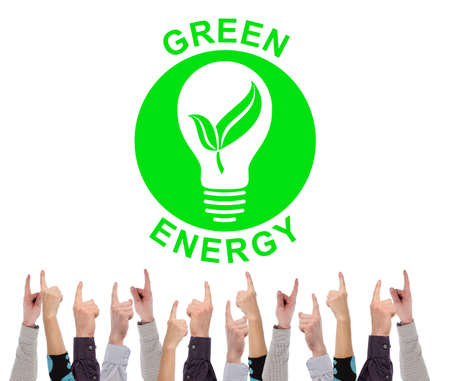 Green energy concept on white background pointed by several fingers