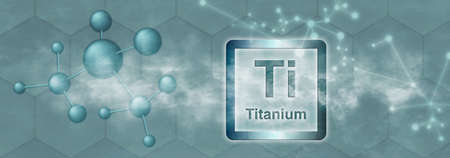 Ti symbol. Titanium chemical element with molecule and network on gray background Stock fotó