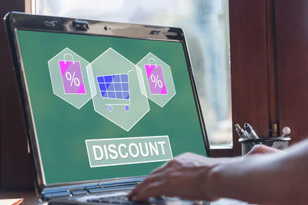 Laptop screen displaying a discount concept