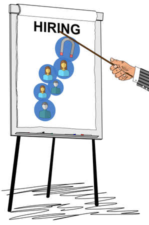 Hand showing hiring concept on a flipchart