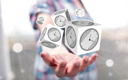 Time management concept above the hand of a woman in background