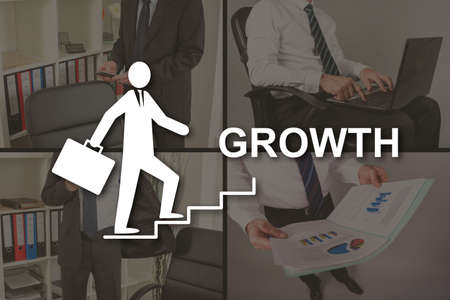 Growth concept illustrated by pictures on background Stok Fotoğraf