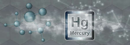 Hg symbol. Mercury chemical element with molecule and network on gray background