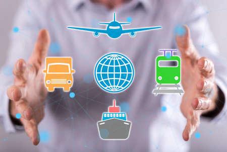 Global transportation concept between hands of a man in background 版權商用圖片