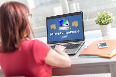 Laptop screen displaying a delivery tracking concept