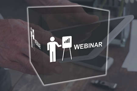 Webinar concept illustrated by a picture on background