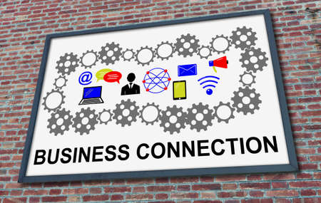 Business connection concept drawn on a billboard fixed on a brick wall
