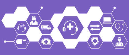 Concept of medical hotline with connected icons
