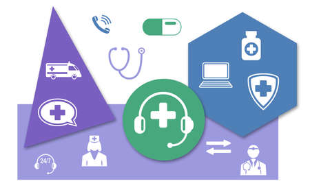 Concept of medical hotline with icons on geometric shapes background