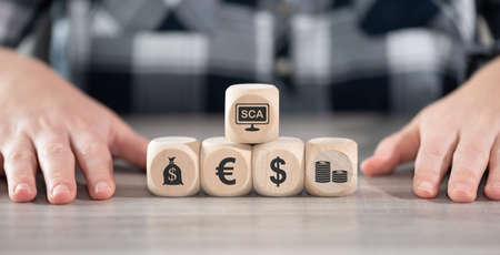 Concept of SCA with icons on wooden cubes Stock fotó