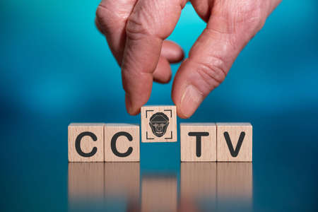 Concept of CCTV on wooden cubes