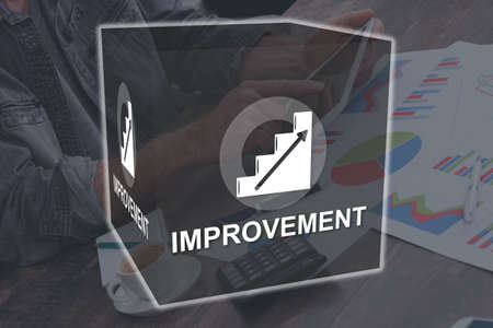 Improvement concept illustrated by a picture on background Stok Fotoğraf