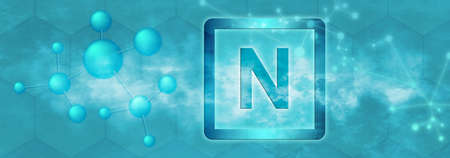 N symbol. Nitrogen chemical element with molecule and network on blue background