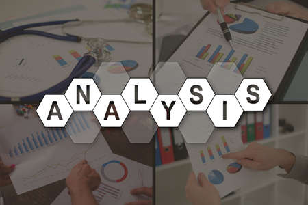 Analysis concept illustrated by pictures on background