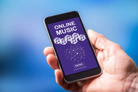 Smartphone screen displaying an online music concept
