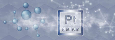 Pt symbol. Platinum chemical element with molecule and network on gray background
