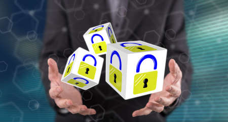 Data security concept above the hands of a man in background