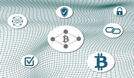 Concept of blockchain technology with icons mesh network