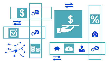 Concept of personal loan with connected icons Stock Photo