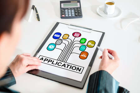 Woman looking at an application concept Stock Photo