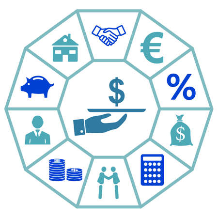 Concept of personal loan with icons on diamond facets