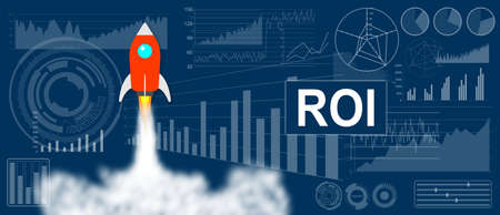 ROI concept with a rocket launch on charts background