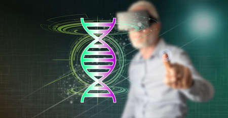 Man with vr headset touching a transhumanism concept on a touch screen with his finger