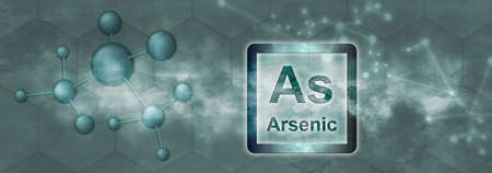 As symbol. Arsenic chemical element with molecule and network on gray background