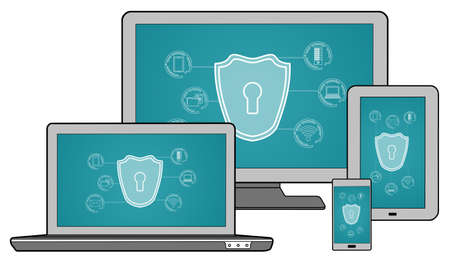Cyber security concept shown on different information technology devices