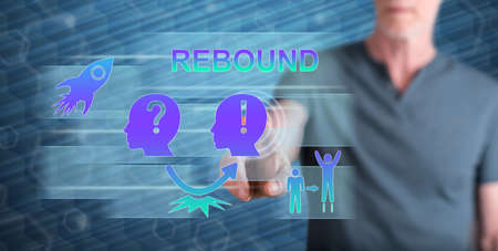 Man touching a rebound concept on a touch screen with his finger