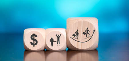 Wooden blocks with symbol of recovery concept on blue background