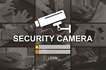 Security camera concept illustrated by pictures on background
