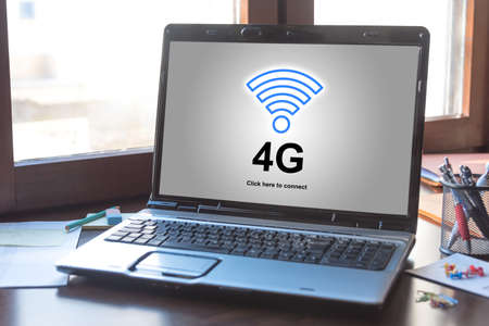 Laptop screen displaying a 4g network concept