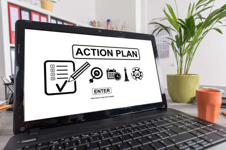 Laptop screen with action plan concept