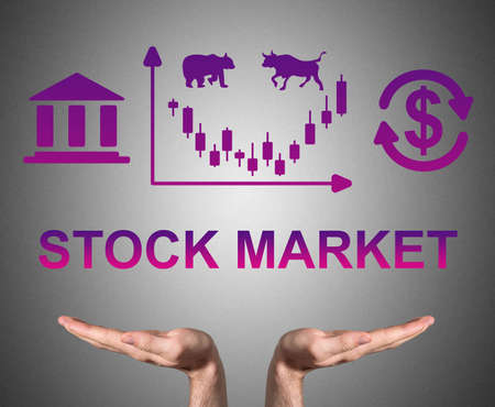 Open hands sustaining stock market concept