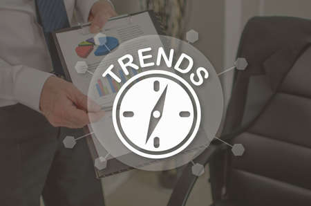 Trends concept illustrated by a picture on background