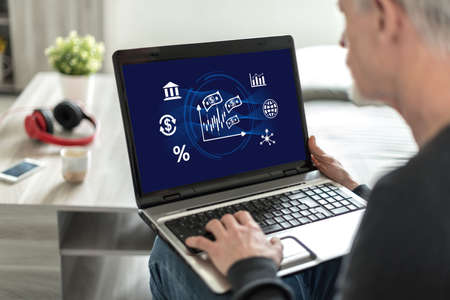 Laptop screen displaying a stock market concept