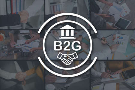 B2g concept illustrated by pictures on background Stock Photo
