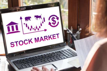 Laptop screen showing stock market concept Banco de Imagens