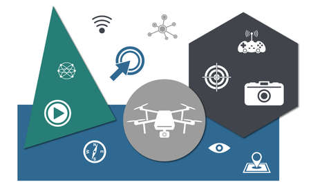 Concept of drone with icons on geometric shapes background