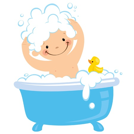 bath tub: A baby having bath in a bathtub
