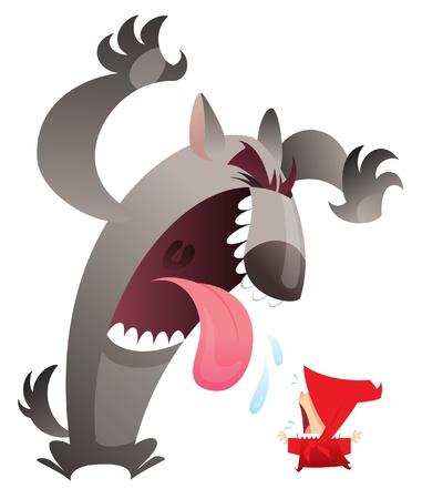 the little red riding hood: Un lobo feroz asustar a una ni�a en rojo