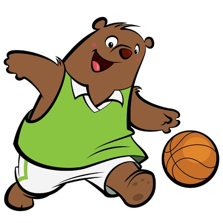 bl: Cartoon bear with athletic suit dribbling playing basket ball