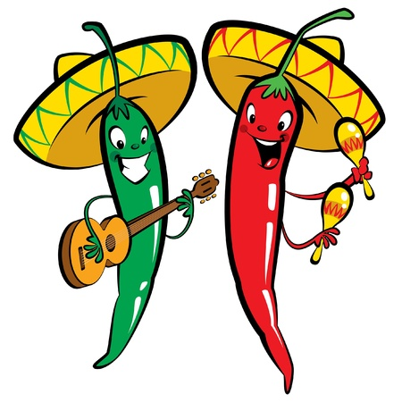 Red and green hot mexican chillies characters singing, playing guitar and maraques